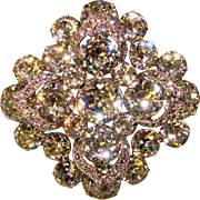 Fabulous EISENBERG Signed Vintage Crystal Rhinestone Brooch