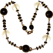Gorgeous ART DECO Black & Clear Glass Beads Necklace