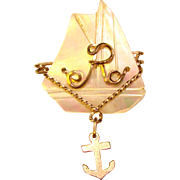 Gorgeous Old MOTHER OF PEARL Ship Design Brooch