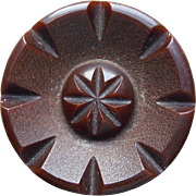 Carved Bakelite Stylized Flower Vintage Button