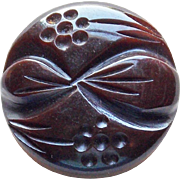 Carved Bakelite Flowers & Leaves Vintage Button