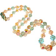 Fabulous AQUA & LIGHT PINK Aurora Crystal Necklace