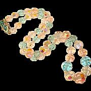 Fabulous AQUA & LIGHT PINK Aurora Crystal Necklace