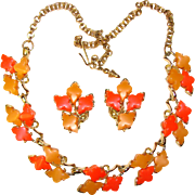Fabulous CITRUS COLORS Thermoset Plastic Vintage Estate Necklace Set