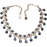 Fabulous BLUE AURORA Rhinestone Vintage Dangle Necklace