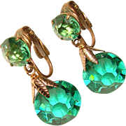 Fabulous GREEN Crystal Glass Dangle Vintage Clip Earrings