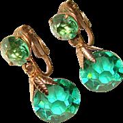 Fabulous GREEN Crystal Glass Dangle Vintage Clip Earrings