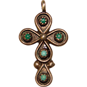 Gorgeous STERLING & TURQUOISE Vintage Cross Pendant