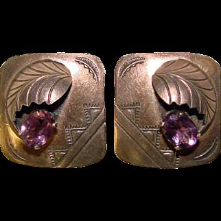 Gorgeous SOUTHWEST STERLING & Amethyst Vintage Clip Earrings