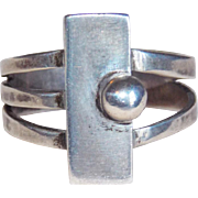 Gorgeous Modernist Sterling Vintage Ring - 9 1/4 - 9 1/2