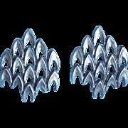 Gorgeous 835 Silver Modernist Vintage Earrings