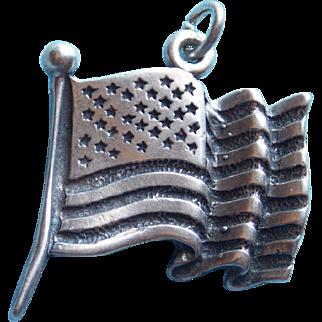 Sterling Waving American Flag Vintage Charm