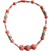 Fabulous ART DECO Carved Coral Celluloid Bead Necklace