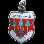 Vintage 800 Silver & Enamel Mittenwald Charm