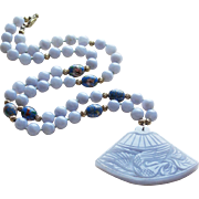 Fabulous BLUE LACE AGATE Carved Bird Enamel Bead Necklace