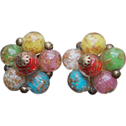 Vintage Venetian Glass Murano Color Bead Earrings