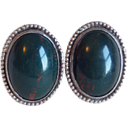Gorgeous Sterling & Bloodstone Vintage Earrings