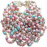 Gorgeous 4 Strand Faux Pastel Pearl Vintage Necklace
