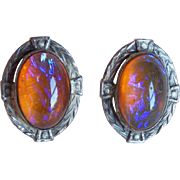 Art Deco Sterling & Dragons Breath Glass Buttons