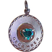Vintage DECEMBER Sterling Heart Stone Charm