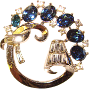 Fabulous TRIFARI Blue Rhinestone Vintage Brooch