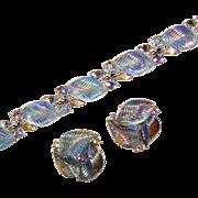 Fabulous LISNER Glowing Blue Leaf Rhinestone Bracelet Set