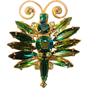 Awesome Vintage GREEN RHINESTONE Insect Design Brooch