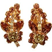 Fabulous D&E JULIANA Fawn & Yellow Rhinestone Vintage Earrings