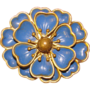 Gorgeous BLUE ENAMEL & Brass Vintage Brooch