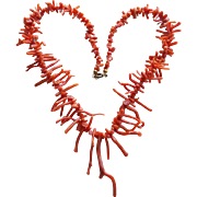 Gorgeous CORAL Stick or Branch Vintage Necklace