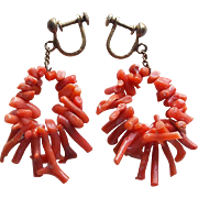 Gorgeous CORAL Stick or Branch Vintage Earrings