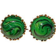 Fabulous MIRIAM HASKELL Vintage Green Glass Clip Earrings