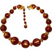 Fabulous TRIFARI Gold Wine Moonglow Lucite Beads Necklace