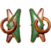 Fabulous Signed Matisse Vintage GREEN MODERNIST Enameled Earrings
