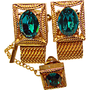 Awesome Vintage TEAL BLUE Rhinestone Mesh Wrap Cufflinks & Tie Tack