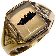 Awesome Vintage Sterling Silver AGATE STONE Men's Ring