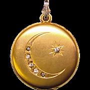 Fabulous Antique LOCKET Moon & Star Design