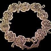 Fabulous STERLING & MARCASITE Vintage Rose Link Bracelet