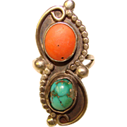 Gorgeous STERLING Coral & Turquoise Vintage Estate RING