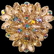 Fabulous D&E JULIANA Vintage Clear & Aurora Rhinestone Brooch