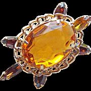 Awesome TURTLE Amber Glass & Rhinestone Vintage Brooch