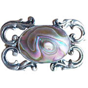Small Antique Blister Shell Sterling Brooch