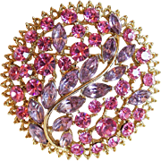 Gorgeous Pink & Lavender Rhinestone Vintage Brooch