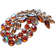Gorgeous Orange Aurora & Brown Rhinestone Vintage Brooch