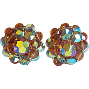 Gorgeous DeMARIO Brown Aurora Crystal Vintage Earrings