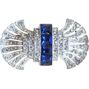 Fabulous Art Deco Blue & Clear Rhinestone Brooch