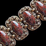 Unsigned Selro Dragons Egg Cabochon Vintage Bracelet