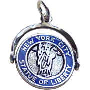 Sterling & Enamel New York Spinner Vintage Charm
