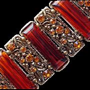 Selro Rootbeer Lucite & Amber Rhinestone Vintage Bracelet