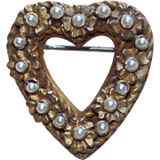 Awesome Small CADORO Faux Pearl Heart Brooch